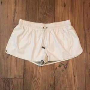 Pants - Beige Faux Leather Drawstring Short